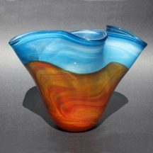 handblown glass bowl with landscape
