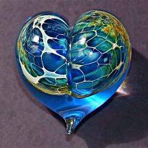 Silver Veil hand blow glass heart paperweight