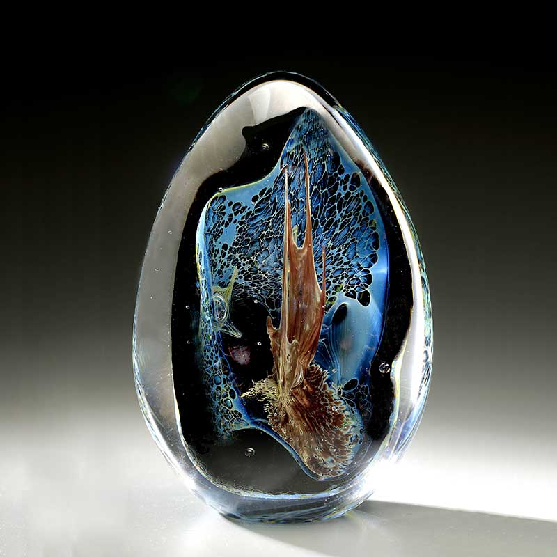 hand formed glass grotto paperweight