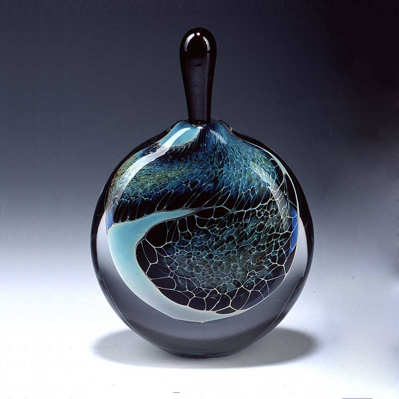 Handblown glass perfume bottle - silver veil