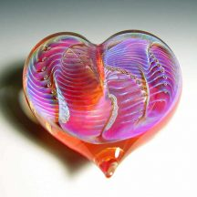 handblown glass heart with silver and bubbles