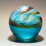Pearl #1 - glass paperweight with bubble pattern