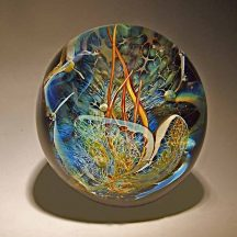Round Grotto Paperweight - handblown glass