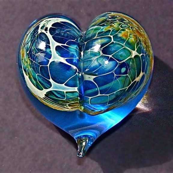 Silver Veil hand blow glass heart paperweight