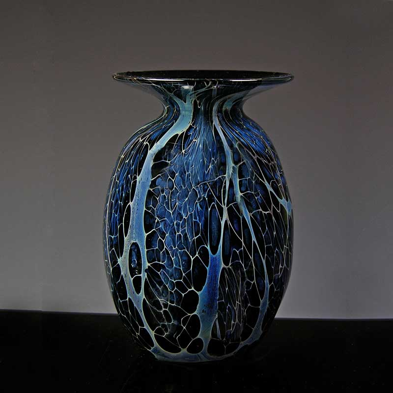 Silver Veil Glass creates patterns on this hand blown glass vase.