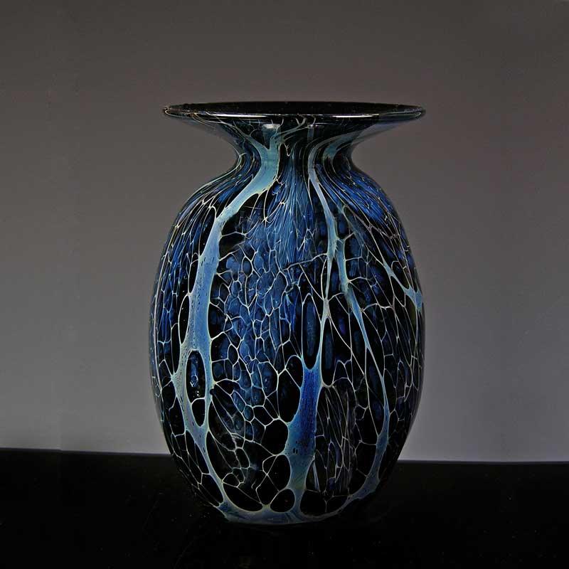 Robert Burch Glass Blue Lace Vase With Broad Rim Robert Burch Glass