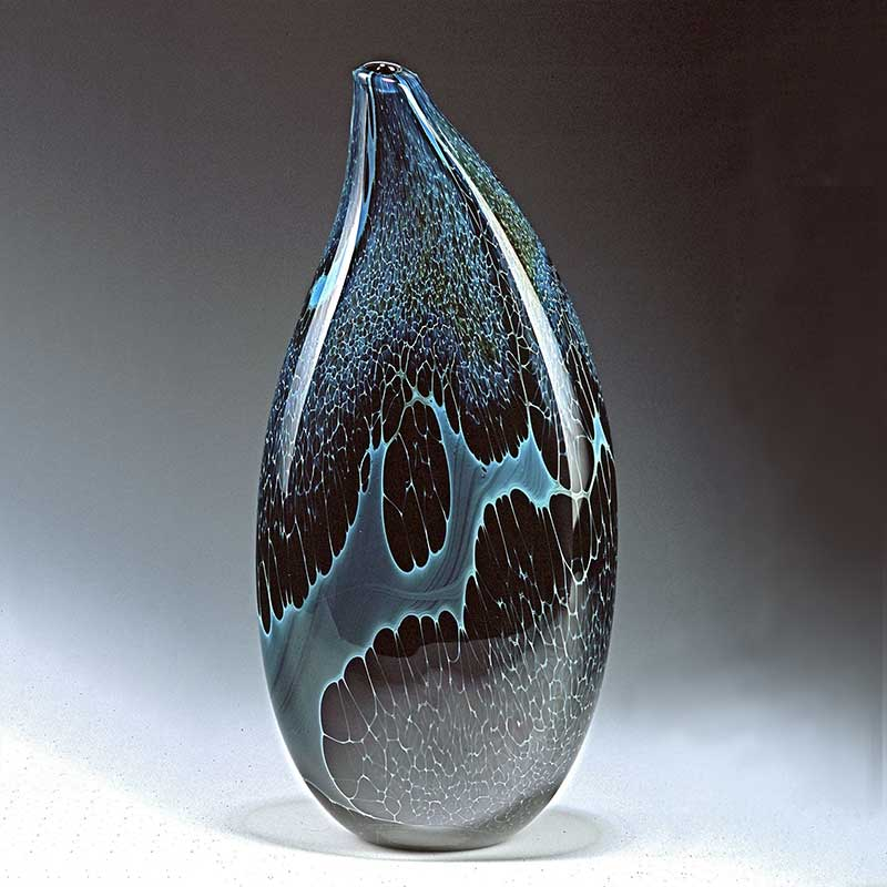 Handblown silver glass vase