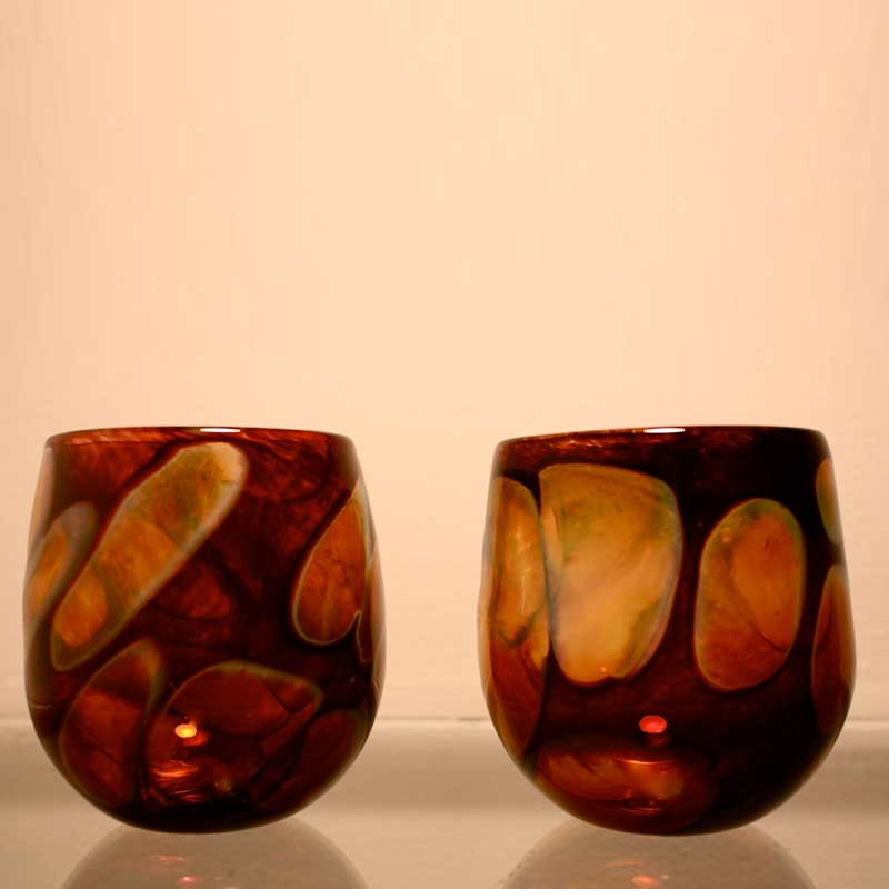 dark amber handblown drinking glasses